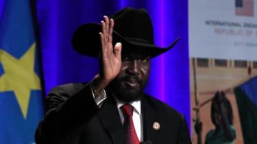 President of South Sudan Salva Kiir Mayardit waves during
