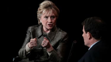 Hillary Clinton and Nicholas Kristof in New York