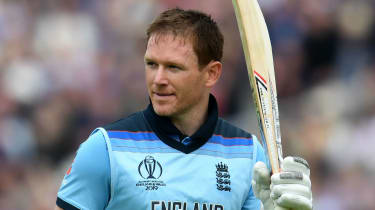 England captain Eoin Morgan acknowledges the crowd after his record-breaking knock against Afghanistan