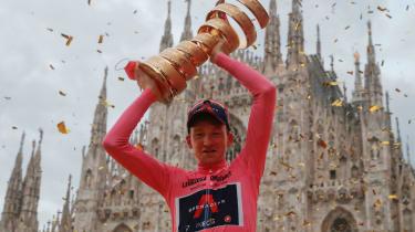 Ineos Grenadiers cyclist Tao Geoghegan Hart celebrates his win at the Giro d'Italia