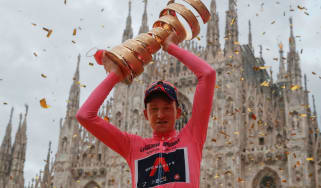 Ineos Grenadiers cyclist Tao Geoghegan Hart celebrates his win at the Giro d'Italia