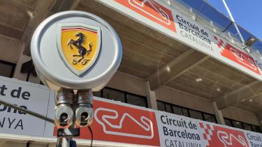 Ferrari's emblem outside the team garage at the Circuit de Barcelona-Catalunya