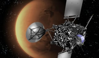 An artist's impression of the Rosetta spacecraft with Mars in the background