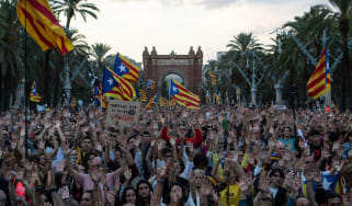 Pro-independence supporters gather in Barcelona in 2018 on the first anniversary of the referendum