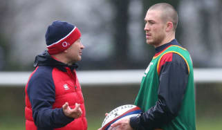 England rugby head coach Eddie Jones and full-back Mike Brown