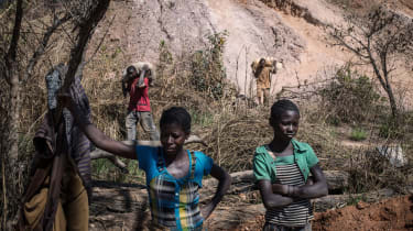 Workers at a DRC cobalt mine