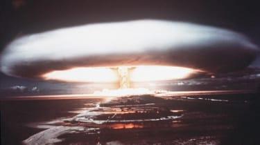 Nuclear test mushroom cloud above Mururoa Atoll