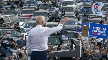 Joe Biden waves to supporters in Georgia during the 2020 presidential election campaign.