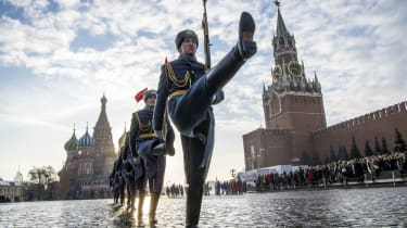 Russian soldiers marching in Red Square