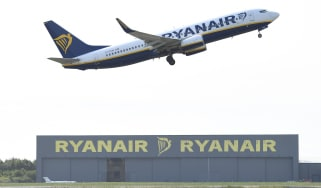 LONDON, ENGLAND - JUNE 03: A Ryanair flight takes off at Stansted Airport on June 3, 2019 in London, England. (Photo by Leon Neal/Getty Images)