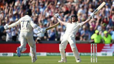 Jack Leach and Ben Stokes celebrate England's Ashes third Test win against Australia