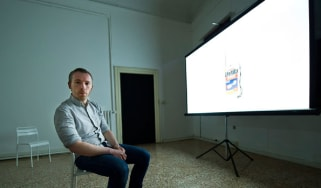 Duncan Campbell with his installation at the Venice Biennale