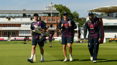 England players (from left) Jason Roy, Joe Denley and Moeen Ali at Lord's