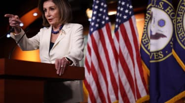 WASHINGTON, DC - DECEMBER 05:U.S. Speaker of the House Rep. Nancy Pelosi (D-CA) speaks during her weekly news conference December 5, 2019 on Capitol Hill in Washington, DC. Speaker Pelosi dis