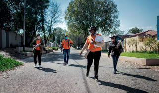 A door-to-door coronavirus testing team in Johannesburg, South Africa
