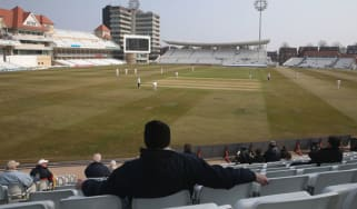 NOTTINGHAM, ENGLAND - APRIL 10:Spectators, on the opening day of the county cricket season, look on during the LV County Championship division one match between Nottinghamshire and Middlesex