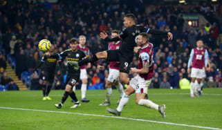 Gabriel Jesus scored twice in Manchester City's 4-1 victory over Burnley at Turf Moor