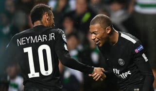 Paris Saint-Germain forwards Neymar and Kylian Mbappe