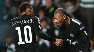 Paris Saint-Germain forwards Neymar and Kylian Mbappe