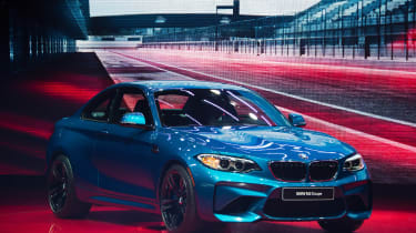 World premiere of the 2016 BMW M2 Coupe during the BMW press conference at the North American International Auto Show in Detroit, Michigan, January 11, 2016. AFP PHOTO / JIM WATSON / AFP / JI