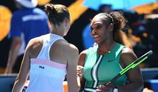 Karolina Pliskova is congratulated by Serena Williams at the Australian Open