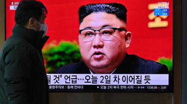 Kim Jong-un appears on a television.