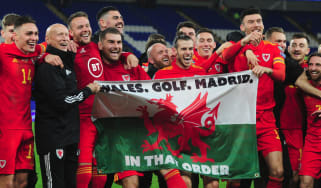 Gareth Bale and his Wales team-mates celebrate with 'that flag'