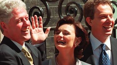 Cherie Blair with Tony Blair and Bill Clinton