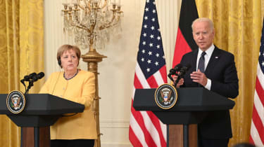 Angela Merkel and Joe Biden at the White House