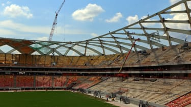 Construction work continues at the Arena Amazonia