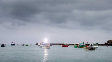 French fishing boats protest in St Helier harbour, Jersey