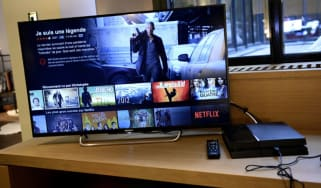 Television screen displaying the French user interface of US online streaming giant Netflix