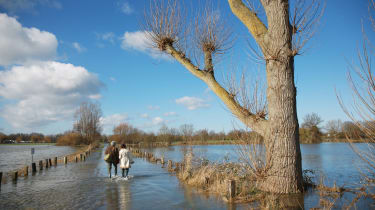 CHERTSEY, UNITED KINGDOM - FEBRUARY 16:A couple walk through flood water on Chertsey Meads on February 16, 2014 in Chertsey, England. Housing near the river Thames has suffered a week of floo