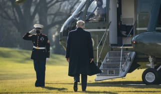 President Donald Trump walks to Marine One on the South Lawn of the White House
