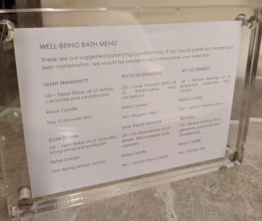 What's on the bath menu at 45 Park Lane