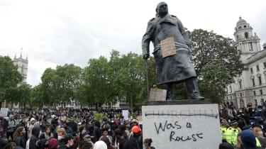 Defaced Churchill statue