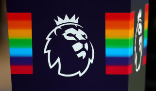 Stonewall rainbow plinth with the Premier League logo