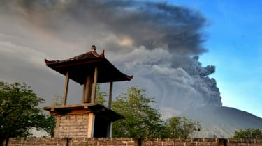 View of Mount Agung seen from Kubu sub-district in Karangasem Regency.