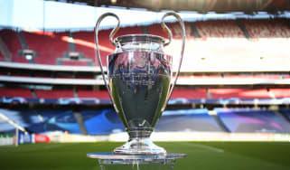 The Uefa Champions League trophy at the Estadio do Sport Lisboa e Benfica