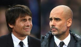 Antonio Conte of Chelsea and Man City boss Pep Guardiola