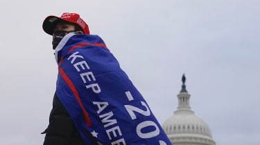A supporter of US President Donald Trump outside the US Capitol.