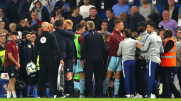 Chelsea and Burnley players and staff clash after the 2-2 draw at Stamford Bridge
