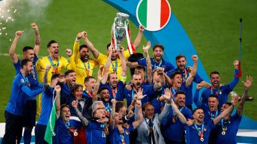Italy captain Giorgio Chiellini lifts the Henri Delaunay trophy at Wembley