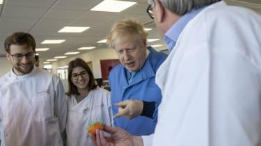 Boris Johnson at a laboratory in Bedford