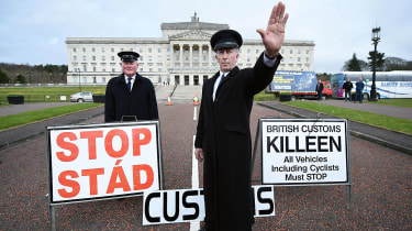 Protesters warn of post-Brexit border checks outside Stormont