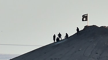 Islamic State (IS) militants stand next to an IS flag atop a hill in the Syrian town of Ain al-Arab, known as Kobane