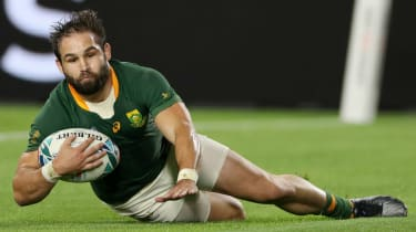 South Africa scrum-half Cobus Reinach scored the fastest hat-trick in Rugby World Cup history