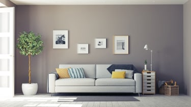 Living room wall with sofa, plant and table lined up alongside it