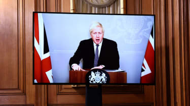 The PM appears by videolink from self-isolation in No. 10