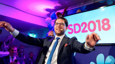 Sweden Democrats leader Jimmie Akkeson says result is victory for far-right party